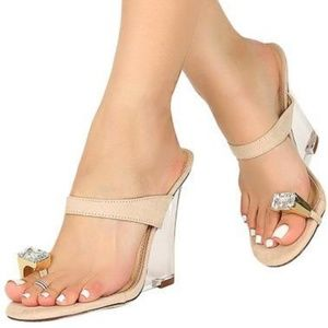 Toe Ring Jewel Rhinestone Wedge Clear Heel Sandals